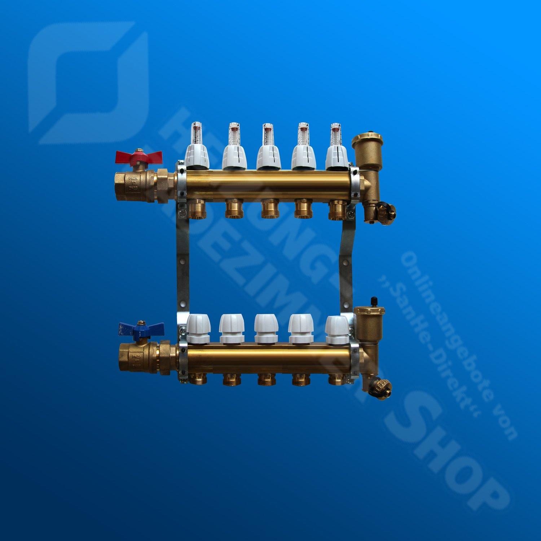Heizkreisverteiler mit Durchflussanzeige f/ür Fu/ßbodenheizung von EasyTHERM 8 Heizkreise