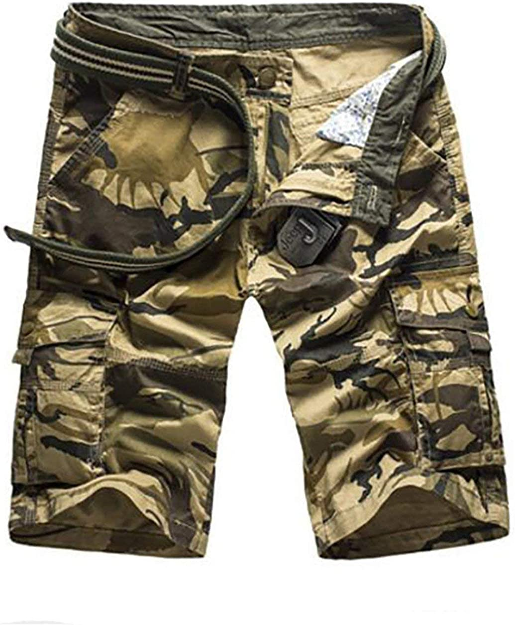 BU2H Mens Camouflage Multi-Pockets Cotton Combat Work Cargo Shorts Khaki US 34