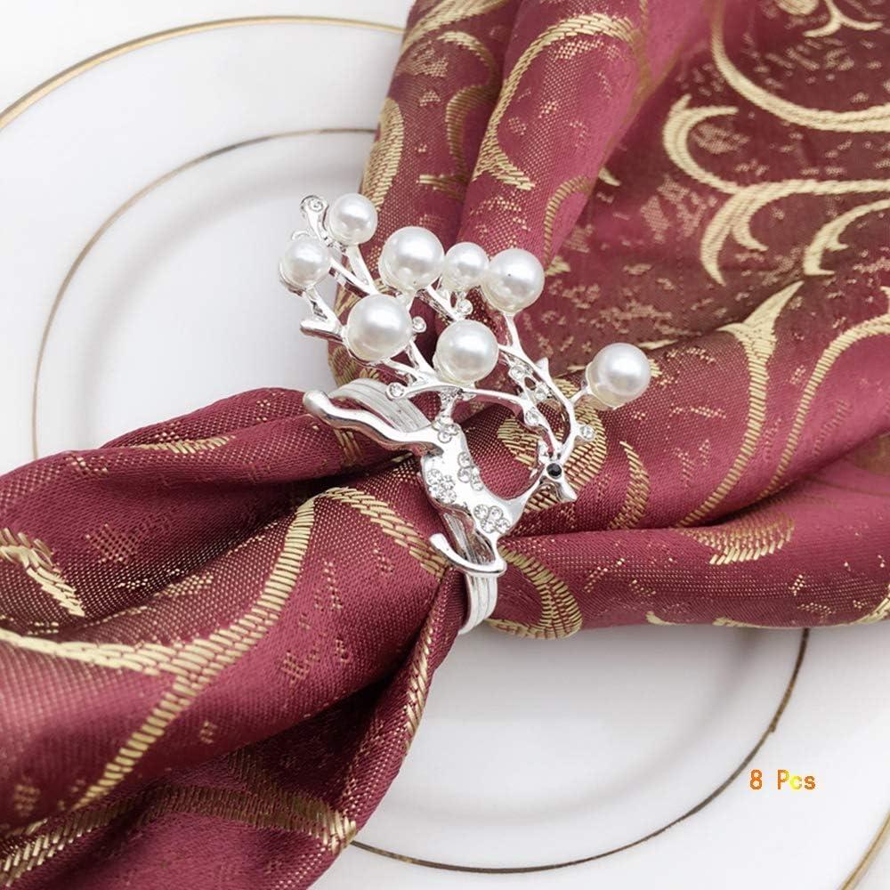 OYPA Anillo de servilleta, diseño de Perla de Ciervo de Navidad, Toalla Creativa, Hebilla, Metal de Oro/Plata. Anillo de servilleta para Banquete de Bodas. Decoración de la Cena 8 Piezas,Silver