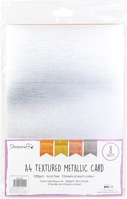 250gsm Dovecraft Scrapbooking Craft Premium A4 Métallique Texturé-Pack 8