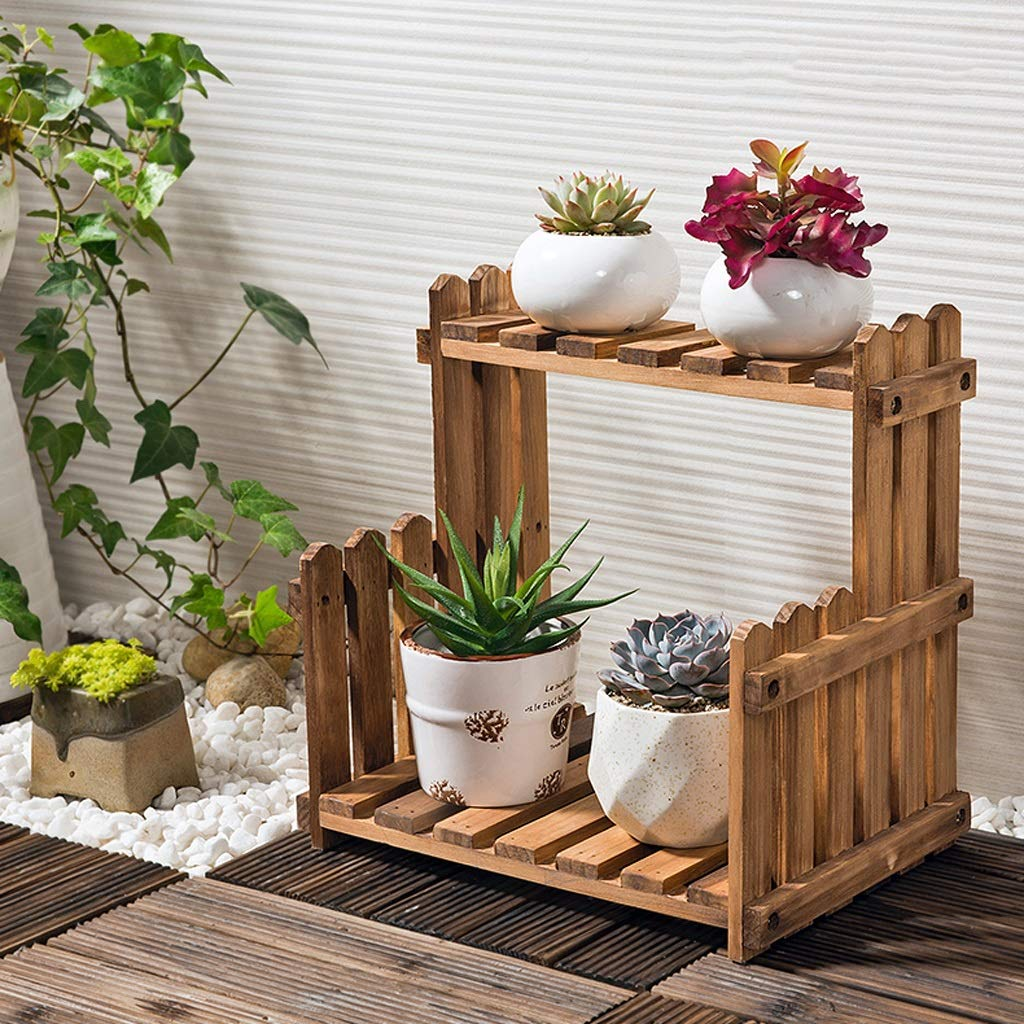 WYY Natural Color Flower Frame Living Room Balcony Floor-stanging Potted Shelf Indoor Simple Desktop Flower Stand by WYY