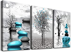 Canvas Wall Art for Living Room Wall Decor for Bedroom Bathroom Black and White Paintings Modern 3 Piece Framed Canvas Art Prints Ready to Hang Inspirational Abstract Blue Pictures Home Decorations