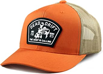 74df21a9 Dead Drift Fly Fishing Hat Bucking Trout Orange Trucker Snapback Fly