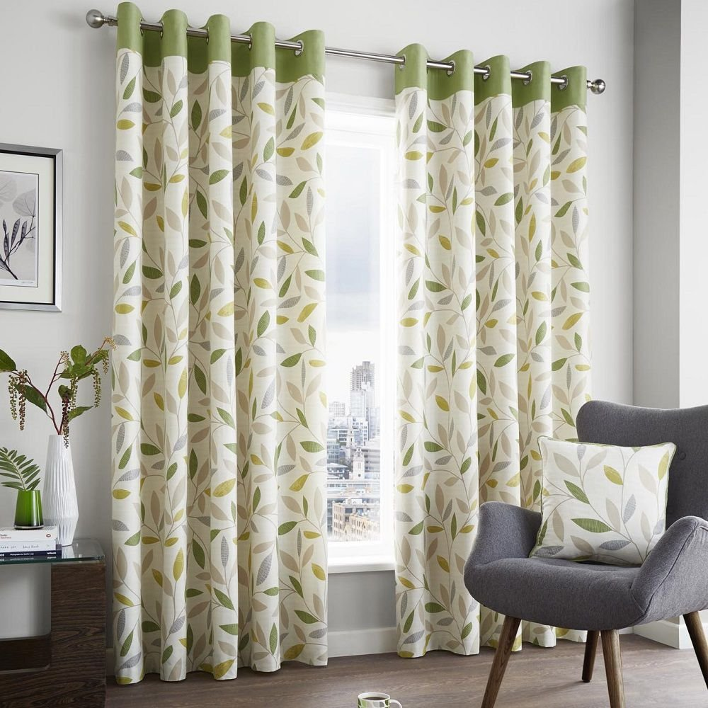 Curtains for Living Room Cream Green: Amazon.co.uk