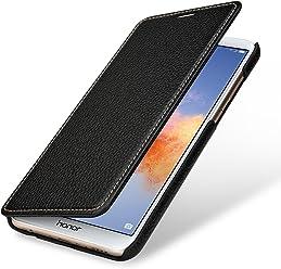StilGut Book Type Case, Custodia per Huawei Honor 7X a Libro Booklet in Vera Pelle, Nero