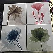 wieco art blue flickering flower canvas prints wall art