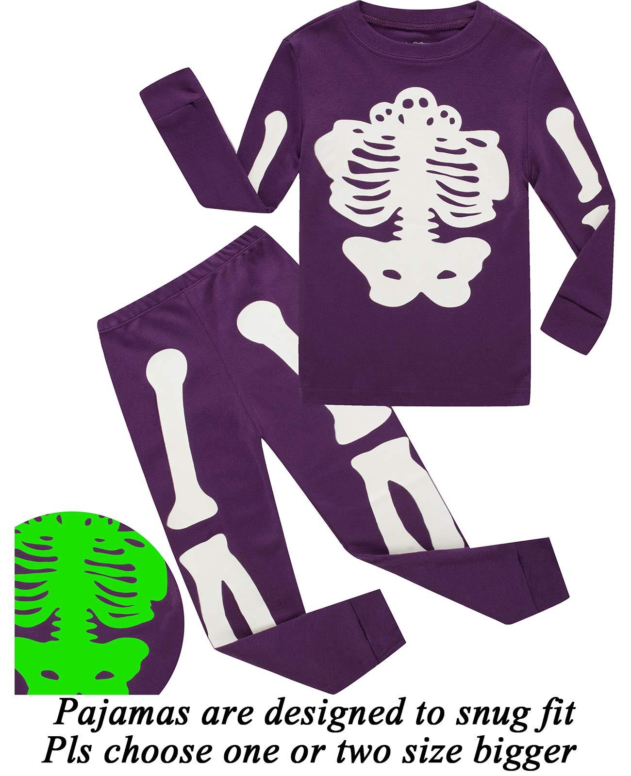 boys halloween pajamas skeleton glow in the dark shirts toddler pjs kids clothes sleepwear 2t
