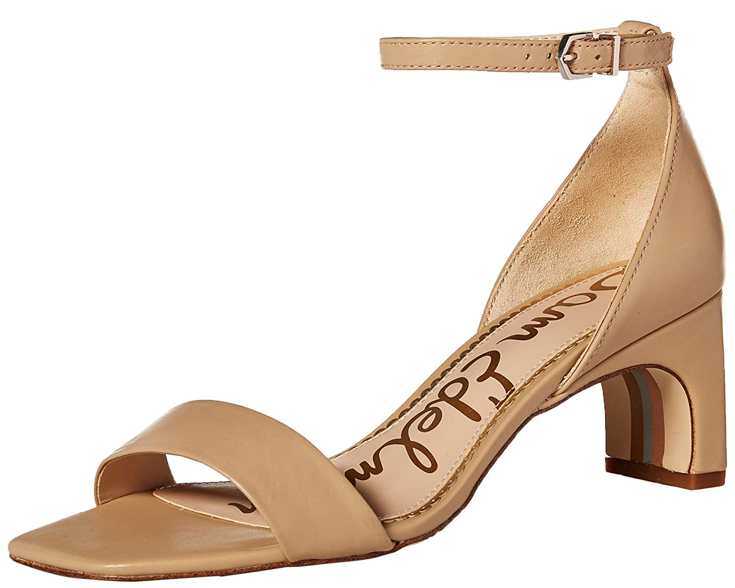 Classic Nude Leather Sam Edelman Womens Holmes Heeled Sandal