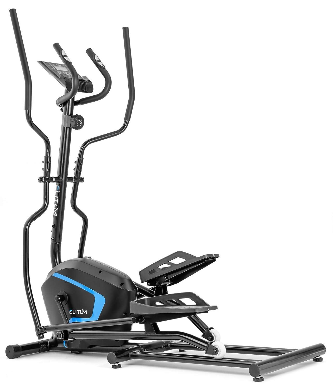 Elitum Crosstrainer MX500 Nordic Walking Ellipsentrainer bis 120 kg Pulssensoren Schwungmasse 13kg 8-Fach Verstellbare Widerstandsregelung Schwarz
