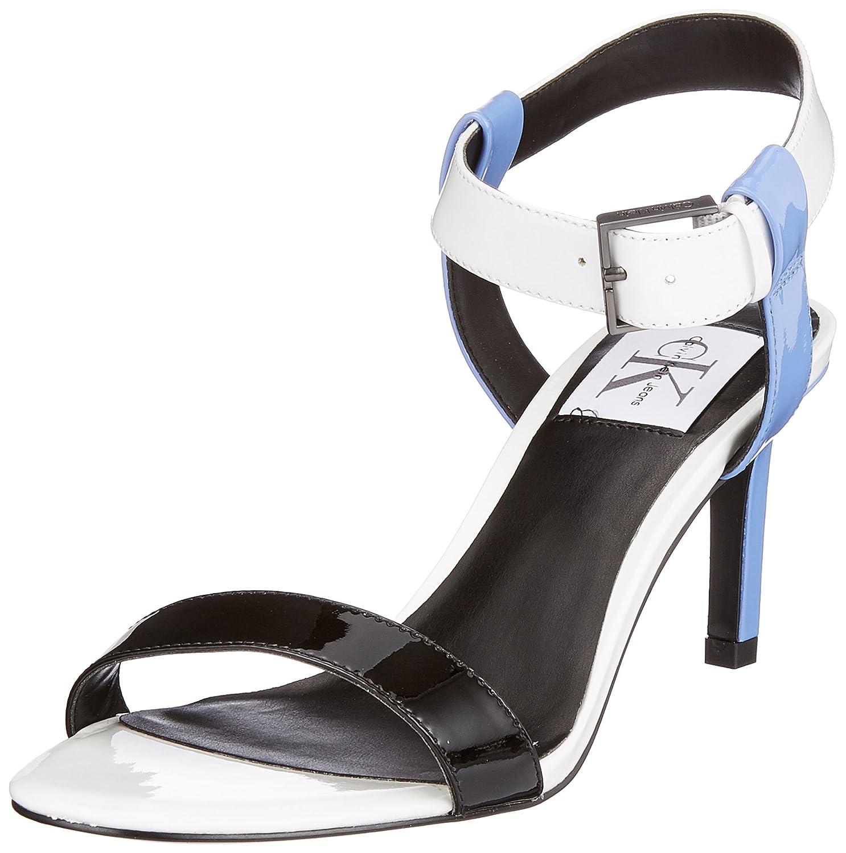 Calvin Klein Jeans Vanessa Patent, Zapatos con Tacon y Correa de Tobillo para Mujer 39 EU|Blanco (Sbw 000)