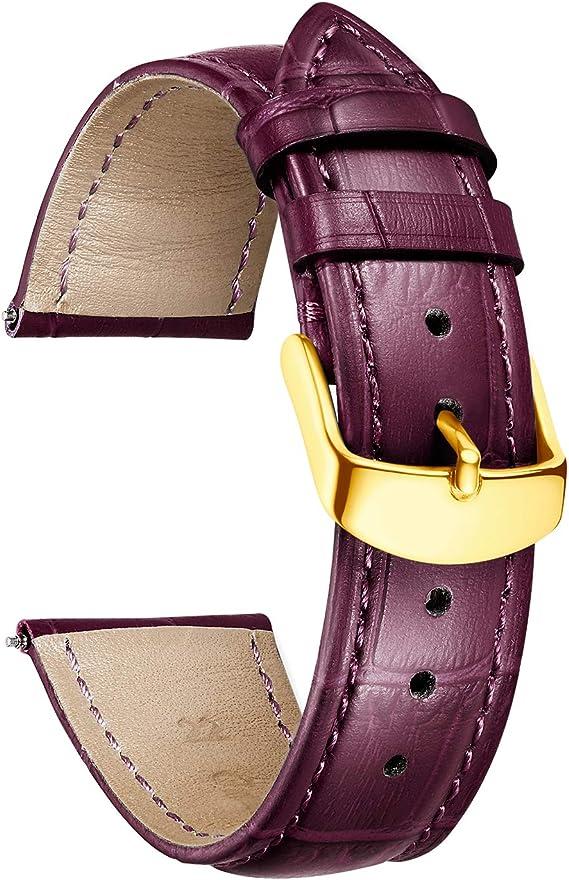 Binlun Echtem Kalbsleder Ersatz Uhrenarmband Leder Multicolor Geschenk Zum Valentinstag 12mm 14mm 16mm 17mm 18mm 19mm 20mm 21mm 22mm 23mm 24mm Uhren