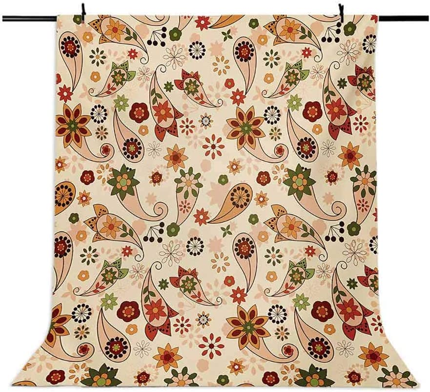 Paisley 6.5x10 FT Photo Backdrops,Floral Design with Spring Motifs and Paisley Elements Oriental in Design Background for Photography Kids Adult Photo Booth Video Shoot Vinyl Studio Props Multicolor