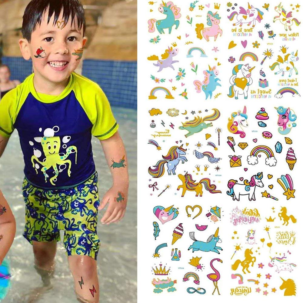 Unicorn Tattoos for Kids, BILBAL 200 Tattoos (6 Sheets) Fake Waterproof Tattoos with Sparkle Gold Glitter, Party Favors and Supplies for Children Kids Girls Boys Adults