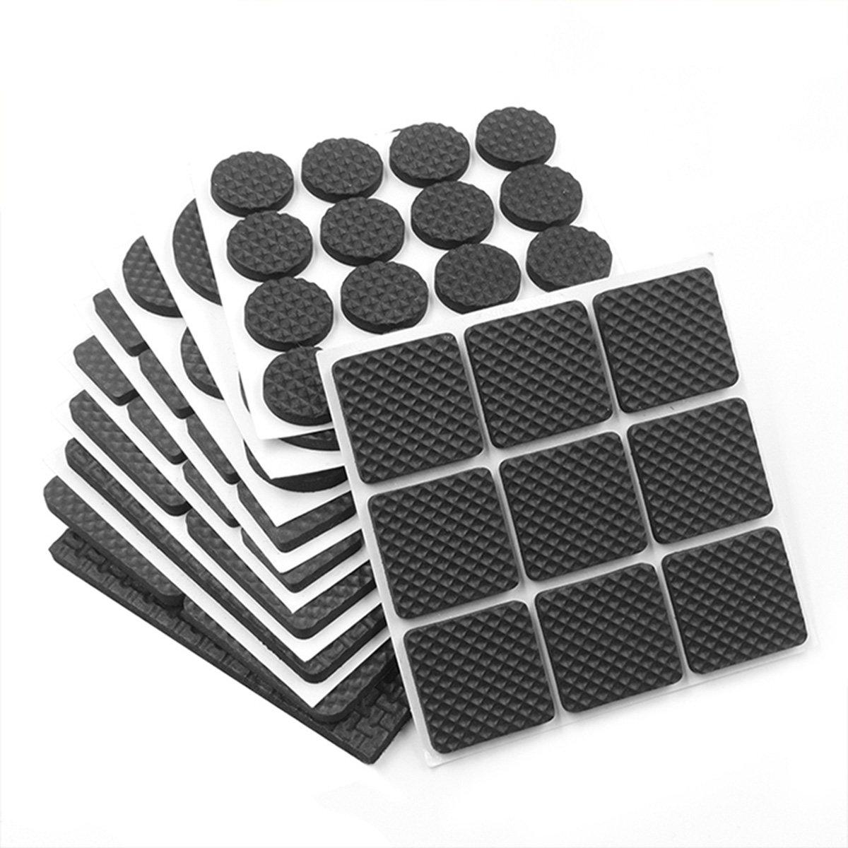 Naisidier Premium Non Slip Furniture Pads, 276Pcs Adhesive Desk Chair Leg Covers Hardwood Floor Protectors, Black