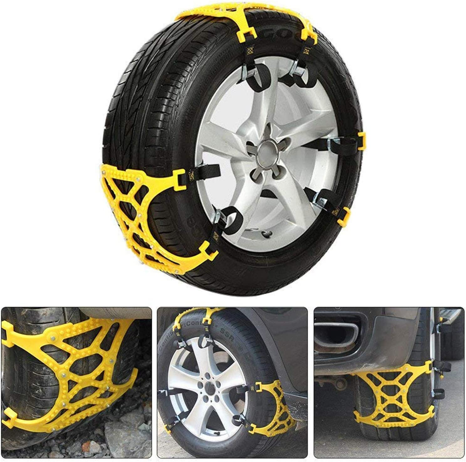 Arespark Car Snow Chains 6pcs Anti Easy to Install Most Cars Tire Chains Passenger Cars Slip Tire Chain for SUV