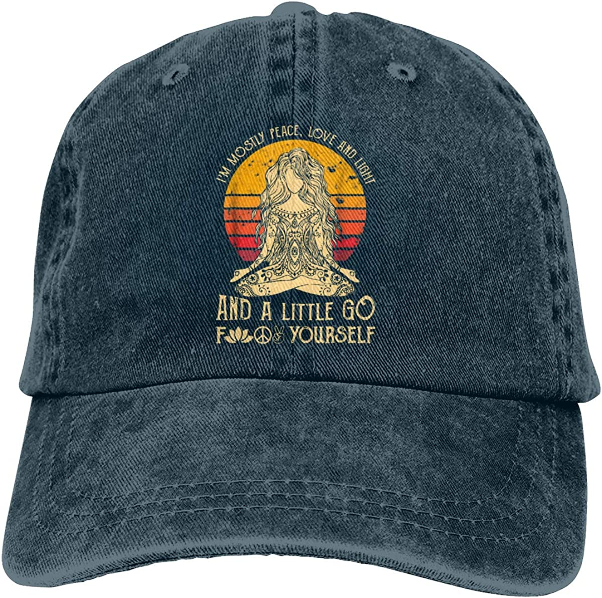 Im Mostly Peace Love and Light and A Little Go Yoga Classic Vintage Denim Caps