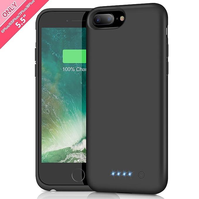 Akku Hülle für iPhone 6 Plus/6s Plus/7 Plus/8 Plus, 8500mAh Tragbare Ladebatterie Zusatzakku Externe Handyhülle Wiederaufladb