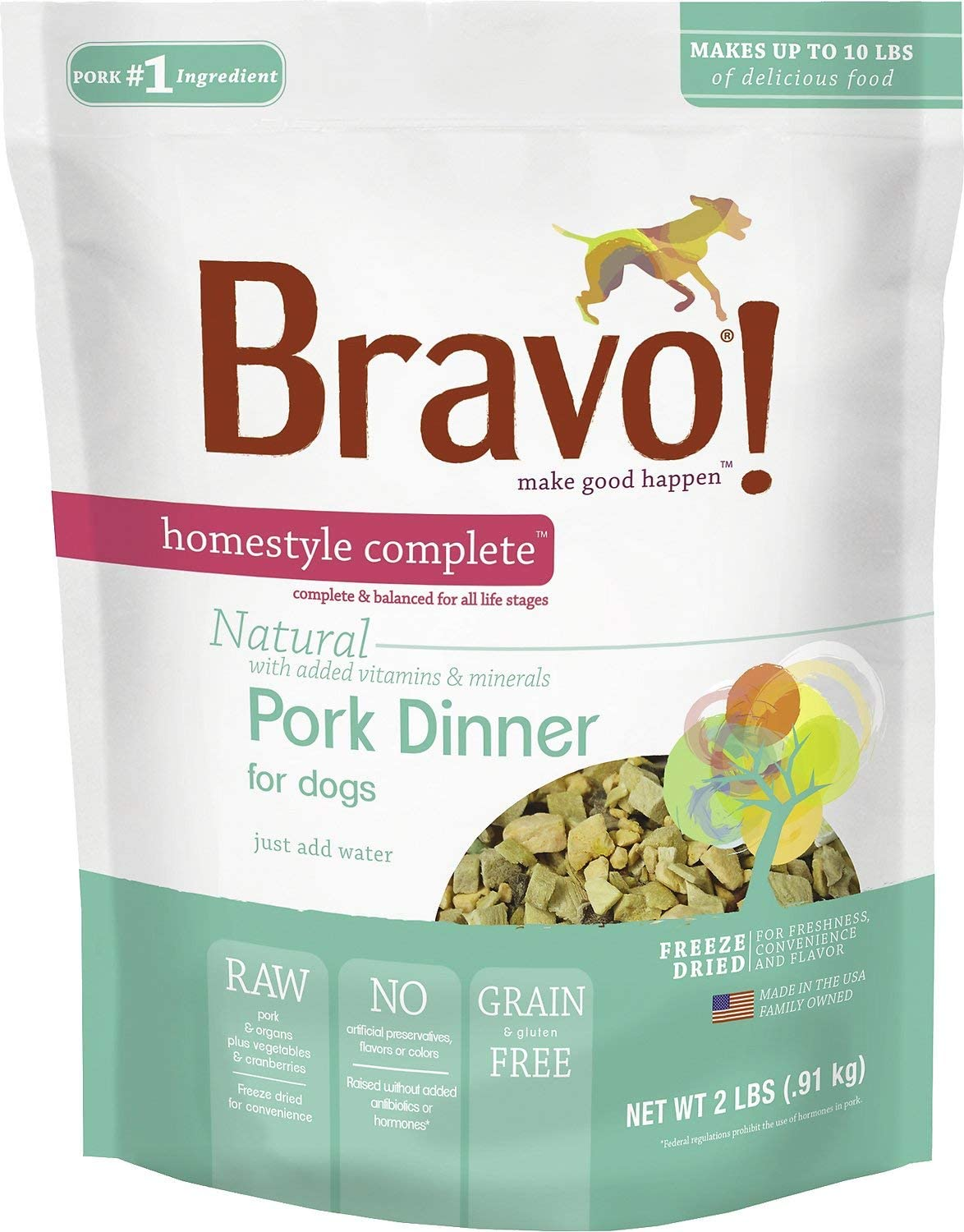 Bravo! Homestyle Complete Natural Pork Dinner for Dogs, 2 Pounds, Freeze-Dried Dog Food