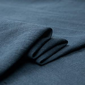 """Japan Nature 100% Linen Fabric for Clothing, Home Decor, Pillow, Sofa, 56"""" Width, Craft by The Yard, Blue Color"""