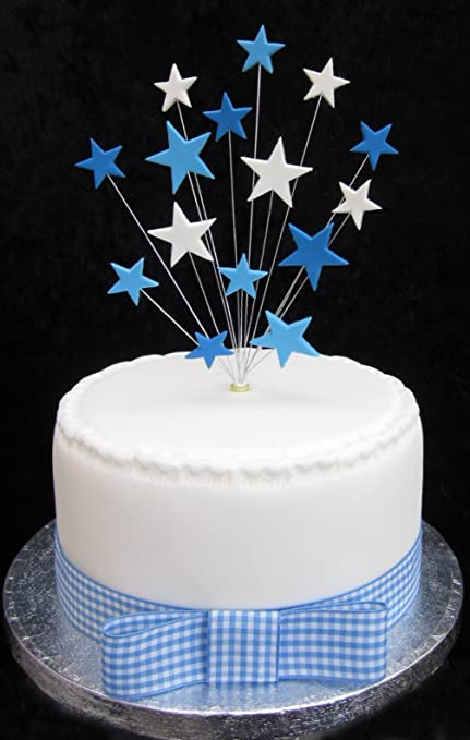 blues and white star cake topper suitable for a small cake or rh amazon co uk