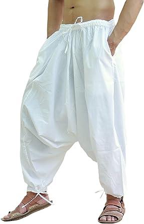 Sarjana Handicrafts Pantalon Bombacho Hindu De Algodon Pantalon Harem Pantalon De Yoga Para Hombre Blanco Blanco Talla Unica Amazon Es Ropa Y Accesorios