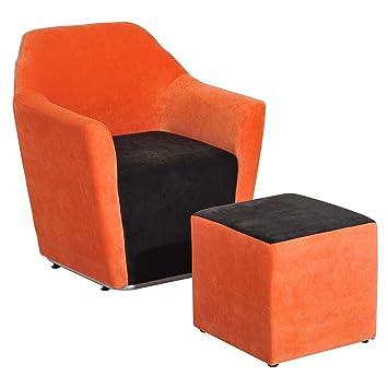 Homcom 2pc Holz Sofa Fuß Hocker Set Wohnzimmer Schlafzimmer Sinlge Schwamm  Arm Stuhl Fußstütze Innen Möbel