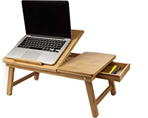 Mind Reader Laptop Lap Desk Flip Top with Drawer, Foldable Legs, Breakfast Tray, Brown