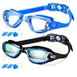 Elimoons Swim Goggles for Men Women, Swimming Goggles Anti Fog UV Protection, 2 Pack