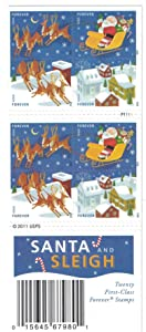 US Stamp 2012 Santa & Sleigh - Booklet of 20 Forever Stamps #4715b