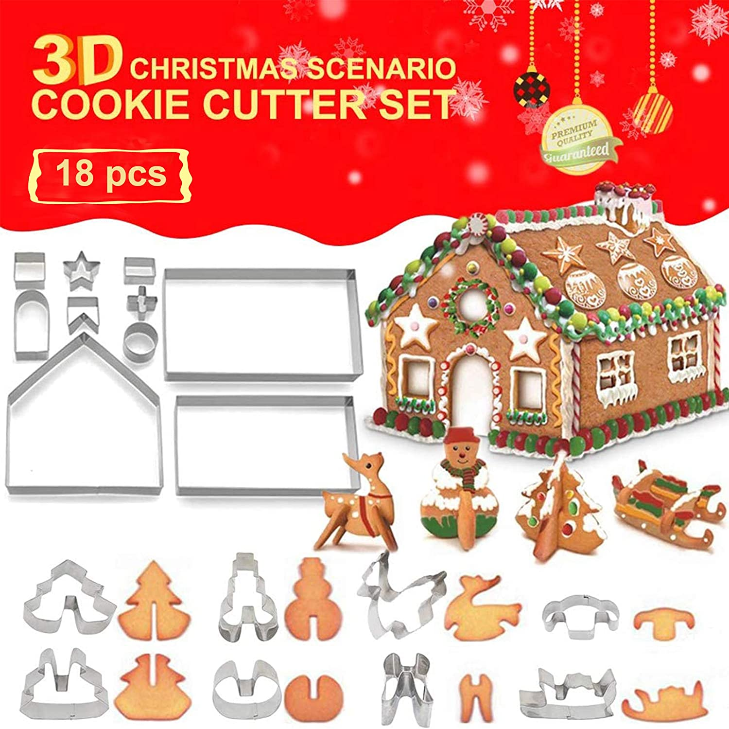18-piece Set Gingerbread House Stainless Steel Christmas Scenario Cookie Cutter