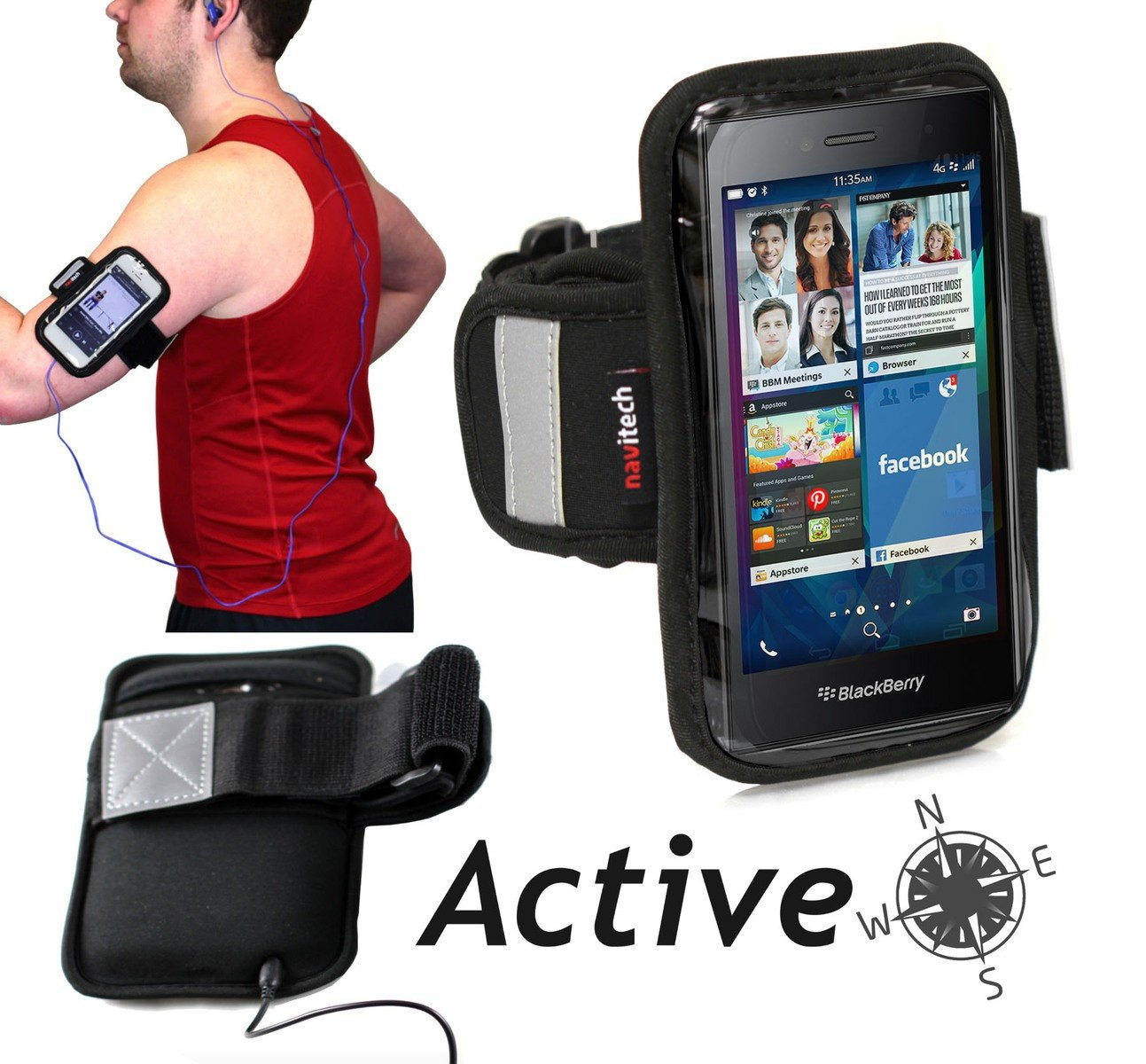 Navitech Black / Silver Neoprene Water Resistant Sports Gym, Jogging / Running Armband Case with Light Reflection Strip + key holder for the Apple iPod Touch 3rd, 4th & 5th generations inc 8 GB, 16 GB, 32GB, 64GB + IPOD NANO 7TH GEN