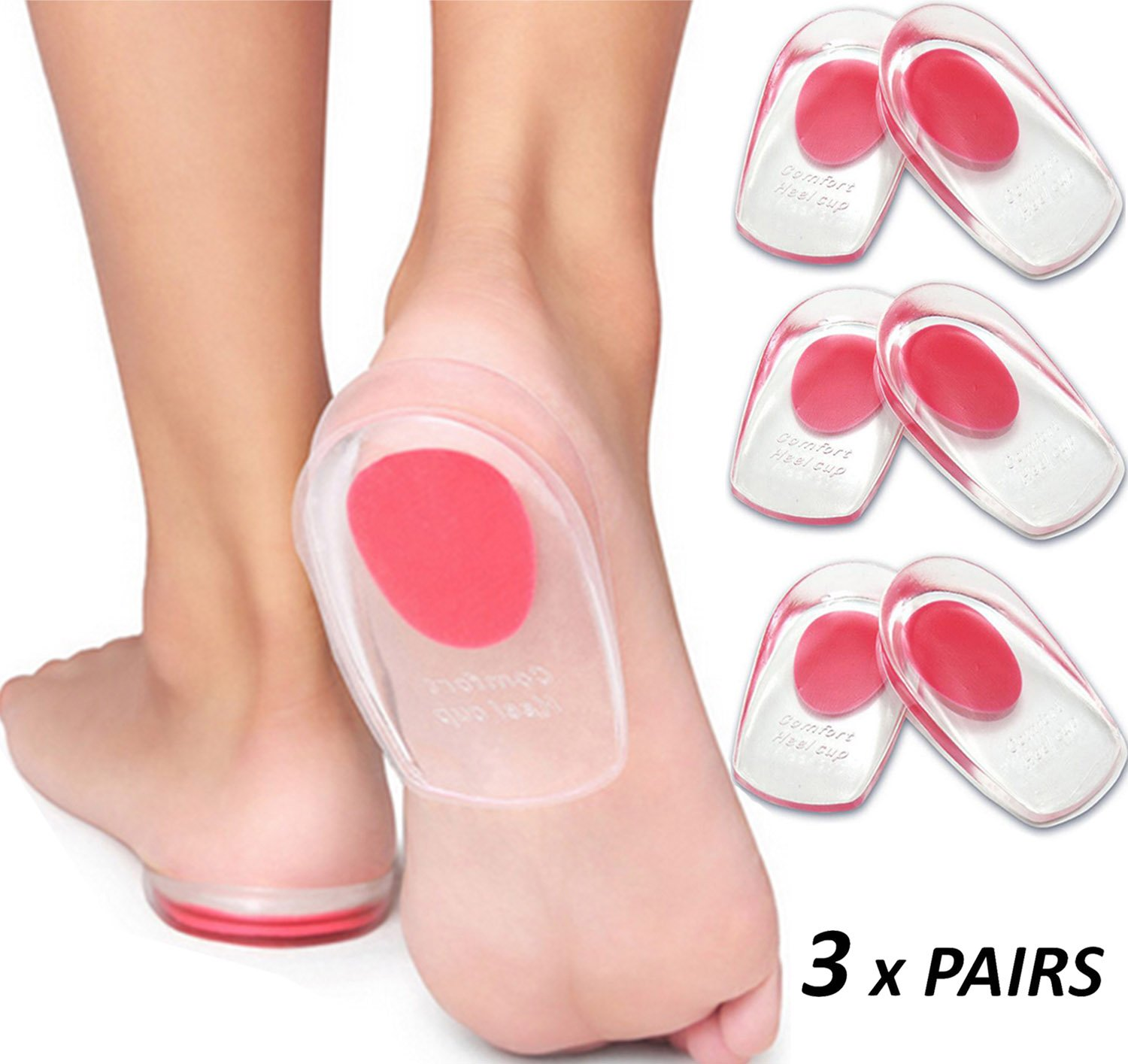 Gel Heel Cups Plantar Fasciitis Inserts - Silicone Heel Cup Pads for Bone Spurs Pain Relief Protectors of Your Sore or Bruised Feet Best Insole Gels Treatment by Armstrong Amerika (Small) by ARMSTRONG AMERIKA