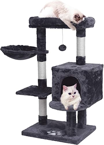 MQ Multi-Level Cat Tree Condo, Activity Center Cat Tower Furniture 36 with Sisal-Covered Scratching Posts, Padded Plush Perch, Spacious Cat Cave Basket for Small Kittens Adult Cats