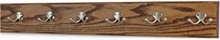 """product image for Oak Coat Rack with Satin Nickel Double Hooks 4.5"""" Ultra-wide (Chestnut, 30.5"""" x 3.5"""" with 6 hooks)"""