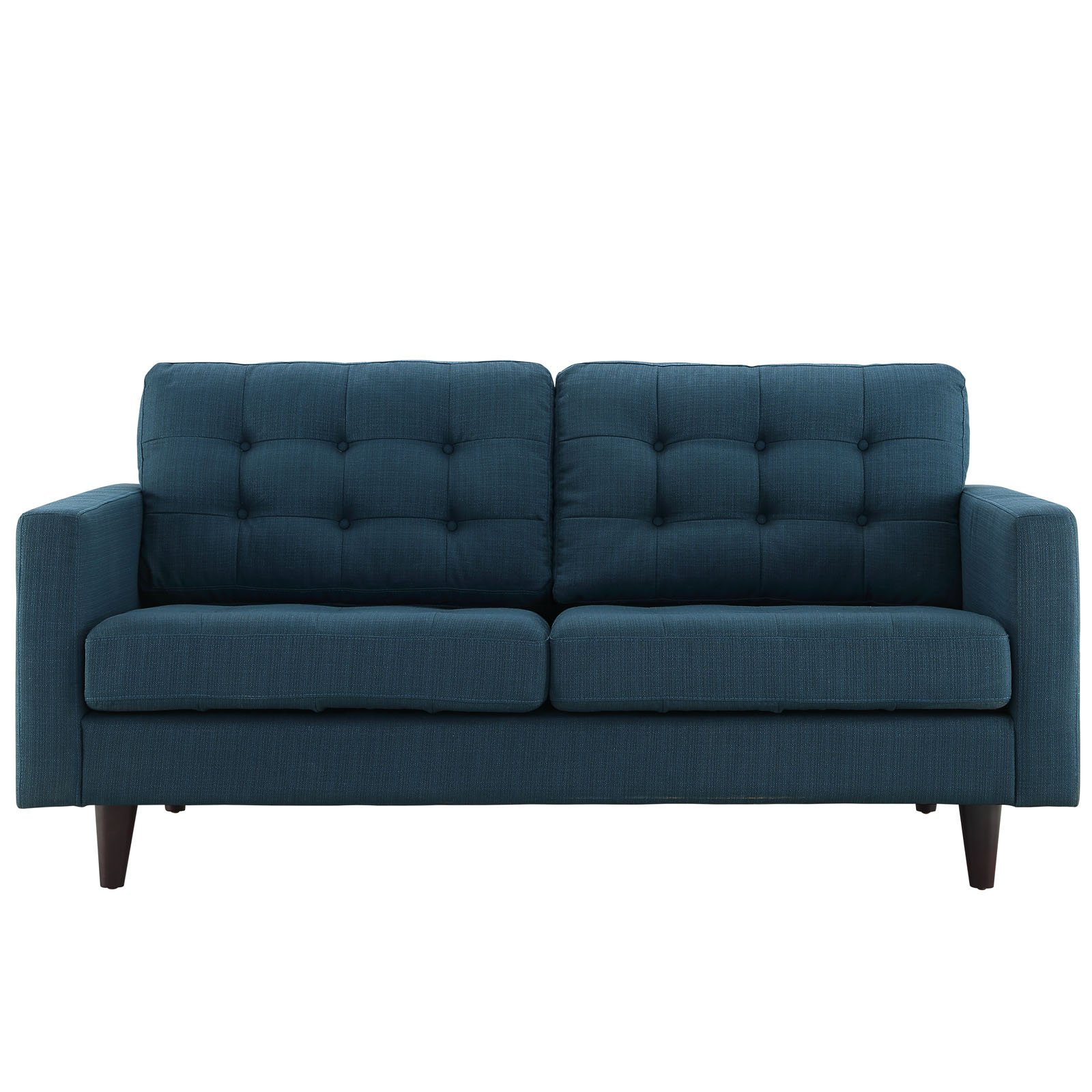 Modway Empress Mid-Century Modern Upholstered Fabric Loveseat In Azure