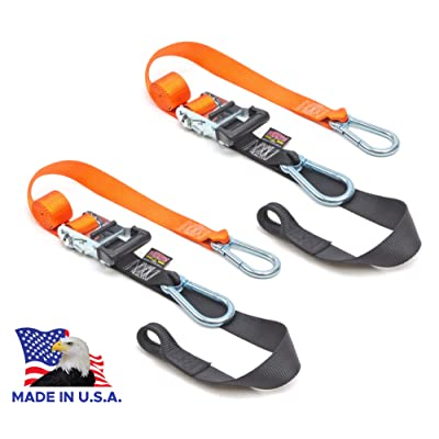 "PowerTye 1½"" x 6½ft Heavy-Duty Ratchet Tie-Downs, Made in USA with Soft-Tye and Carabiner Hooks, Orange/Black (pair): Automotive"
