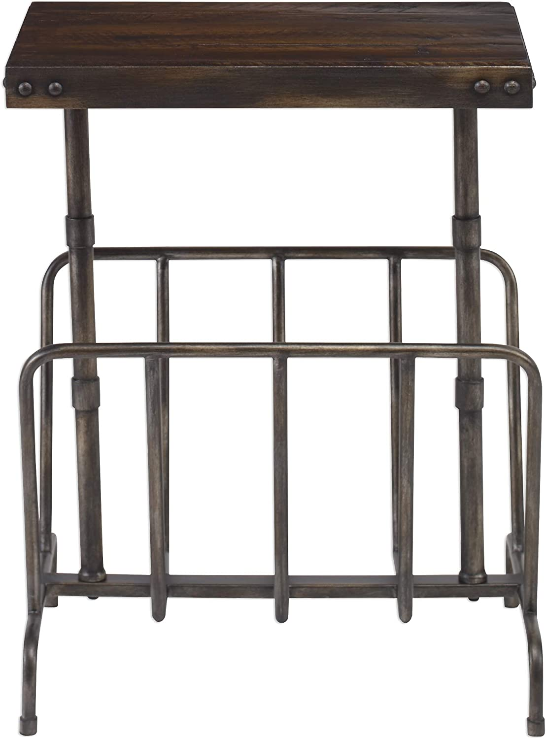 MY SWANKY HOME Retro Industrial Iron Wood Accent Table Magazine Rack | MidCentury Vintage Style