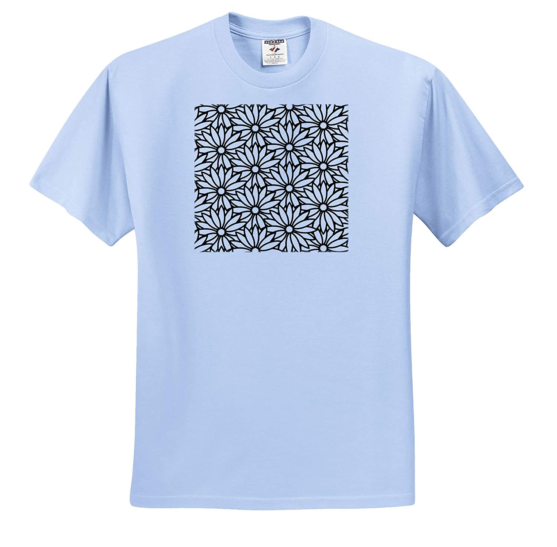 Chic Black and White Daisy Floral Pattern T-Shirts 3dRose Russ Billington Patterns