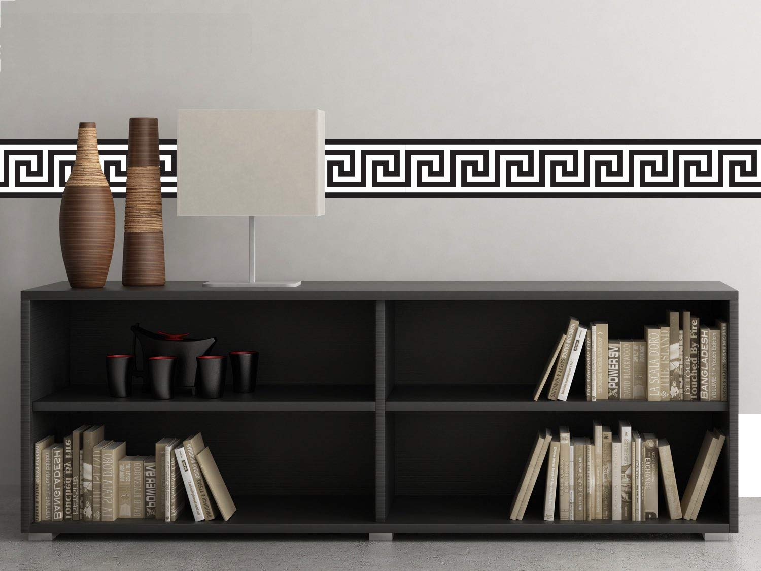 """Sunny Decals Greek Key Wall Border Fabric Wall Decal (Set of 2), 25"""" x 6.6"""", Black/White"""