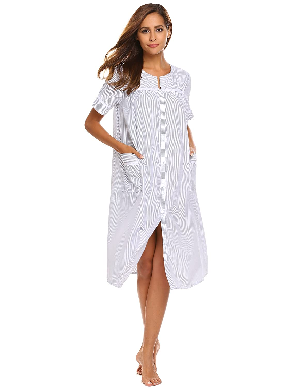 Ekouaer Women's Striped Sleepwear Short Sleeve House Dress Nightgown S-XXL **#EKK007661