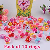 Tahera Kids Girls Cartoon Fancy Finger Rings for rakshbandhan and Birthday Gifts.Suitable for Age 3 - 14 yrs. Pack of 10.