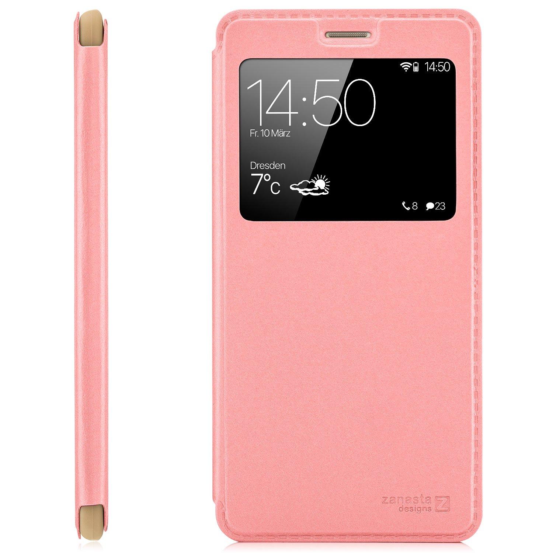 Zanasta Designs Funda Huawei Y6 (2015) SCL-L01 Cover Flip Wallet Case Cubierta de la Ventana, protección de la cámara   Rosa