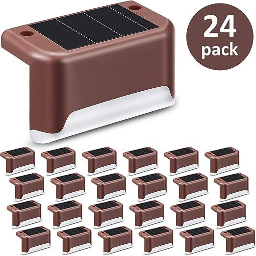 24 Piezas Luces de Cubierta Solar Luz de Paso Solar LED Resistente al Agua Lámpara de Poste de Valla de Alimentación para Camino al Aire Libre, Patio, Escaleras, Escalones y Cercas: Amazon.es:
