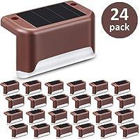 24 Piezas Luces de Cubierta Solar Luz de Paso Solar LED Resistente al Agua Lámpara de Poste de Valla de Alimentación…