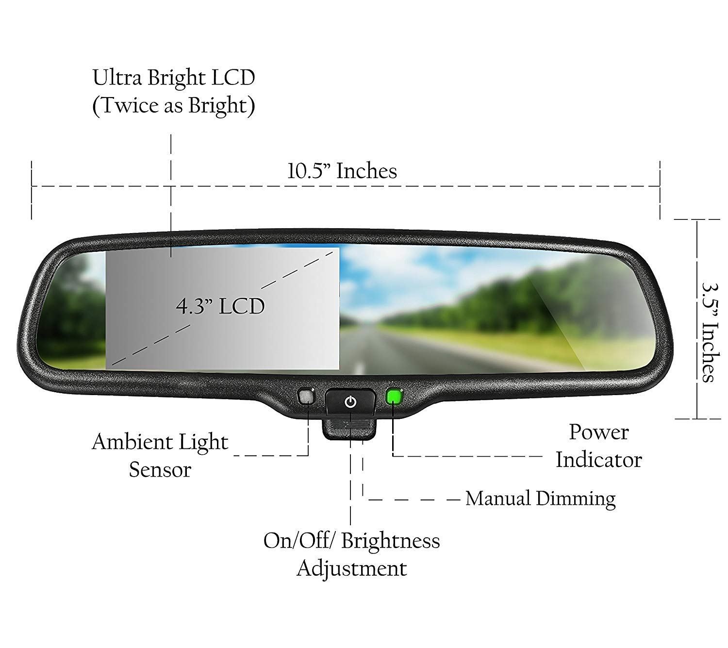 Master Tailgaters Oem Rear View Mirror With 43 Auto Toyota Oemstyle Aftermarket Fog Light Wiring Diagram Balancing Act Adjusting Brightness Lcd Manual Dimming Universal Fit Car Electronics