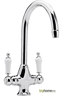 Reginox Elbe Chrome Traditional Twin Lever Kitchen Sink Mixer Tap ...