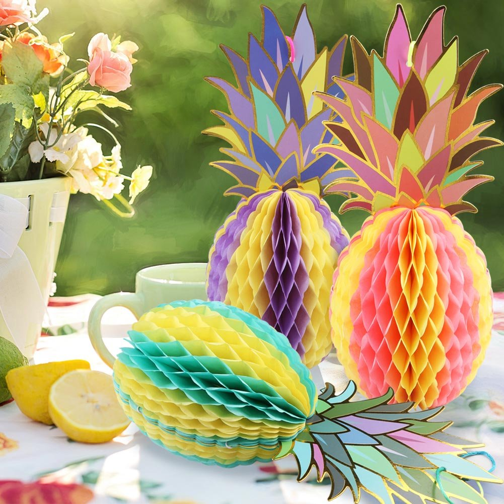 AerWo Colorful Paper Pineapple Honeycomb Jungle Party Favors Table Centerpiece for Tropical Party Decorations and Hawaiian Themed Party Supplies 3pcs