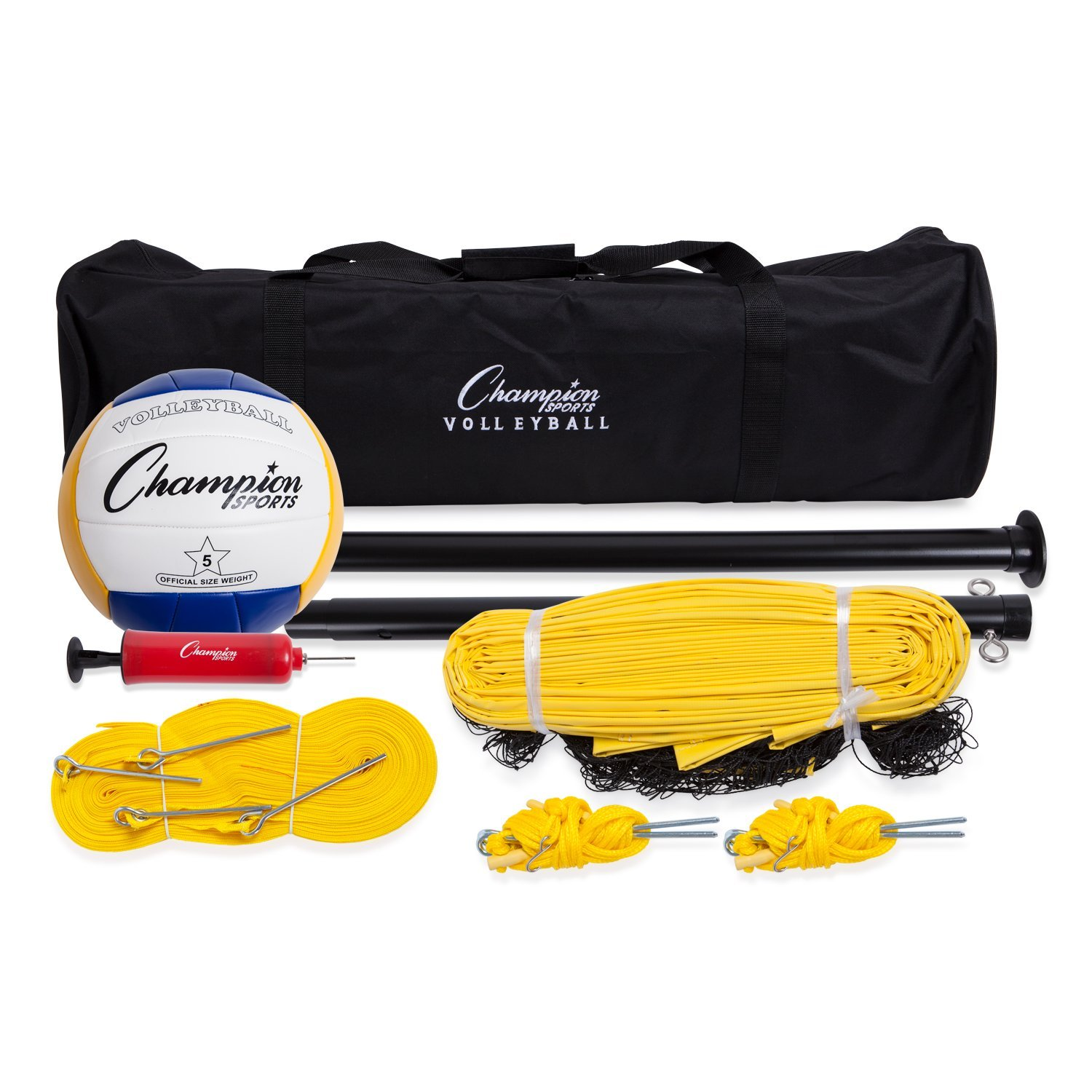 Champion Sports Outdoor Volleyball Set: Complete Portable Team Sports Set with Net, Poles, Ball & Accessories for Lawn, Beach, Club & Tournament Games