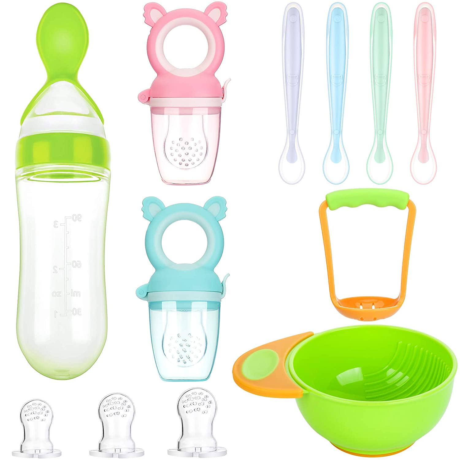11 Pieces Food Feeder Set Include 2 Baby Teething Pacifier 3 Replacement Feeding Nipples 1 Food Feeder Bottle 1 Mash and Serve Bowl 4 Soft-Tip Silicone Baby Spoon for Baby First Stage Feeding