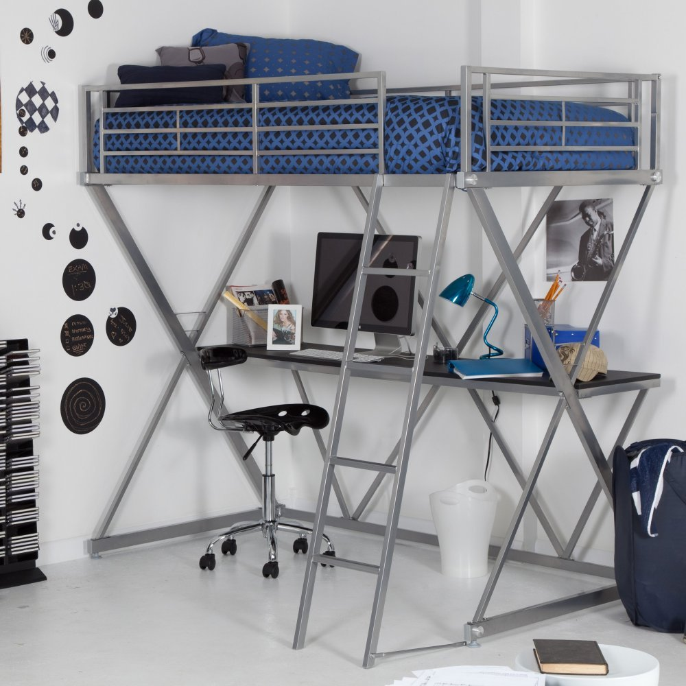 Duro Duro Z Bunk Bed Loft with Desk -, Silver, Metal, Twin Loft Bed